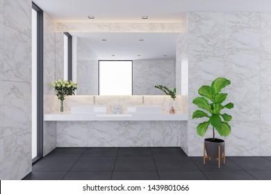 modern interior design,White bathroom with marble sink.3d render