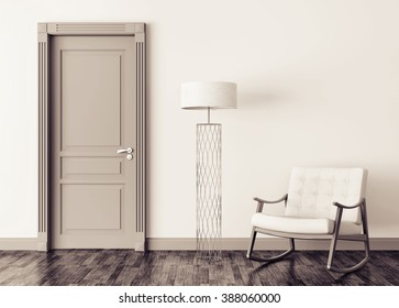 Modern interior with door, floor lamp and rocking chair 3d render