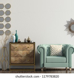 Modern interior with dresser and chair. Wall mock up. 3d illustration.