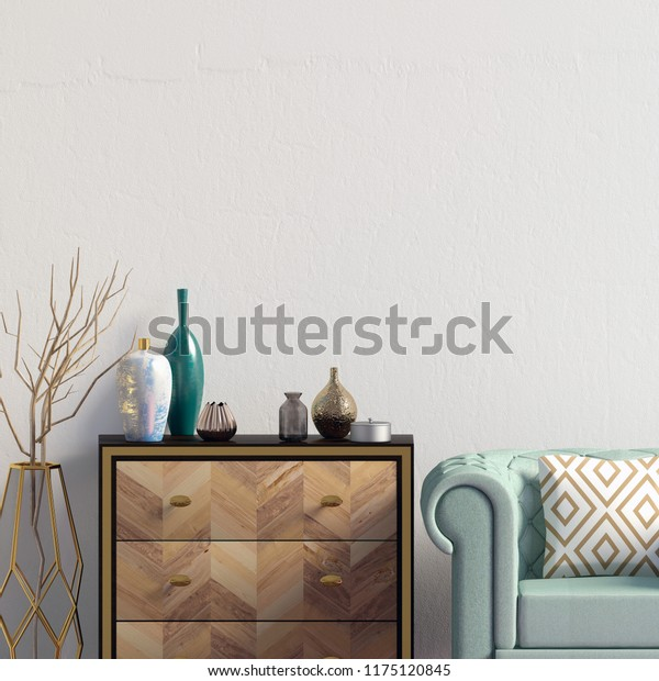 Amazing Modern Interior Dresser Chair Wall Mock Stock Illustration Gmtry Best Dining Table And Chair Ideas Images Gmtryco