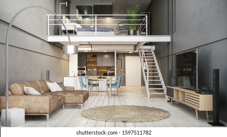 Modern interior of a duplex apartment. Modern apartment interior. Modern design of a small apartment. 3d illustration