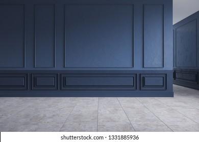 Modern interior empty room, dark blue wall with Concrete Gray tile floor,3d rendering