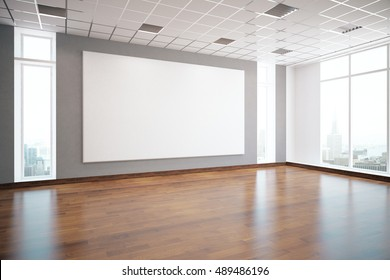 Modern interior with empty white billboard, shiny wooden floor, patterned ceiling, window with city view and daylight. Mock up, 3D Rendering