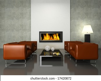 Modern interior with fireplace 3D rendering. Photo in magazine was made by me, I uploaded model's release