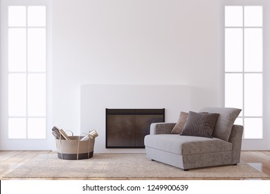 Modern interior with fireplace. Interior mock-up. 3d render.