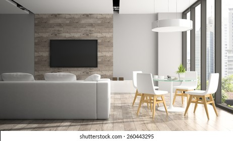 Modern interior with four white chairs 3D rendering