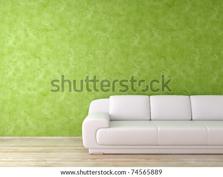 Remarkable Modern Interior Green Wall White Leather Stock Illustration Machost Co Dining Chair Design Ideas Machostcouk