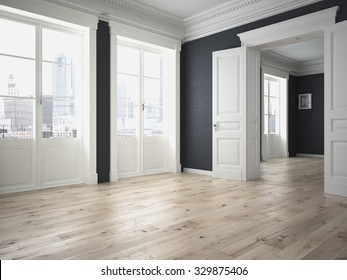 Modern interior with grey walls and parquett floor. 3d rendering