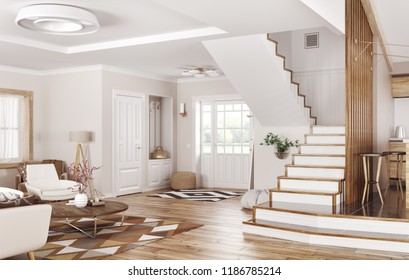 Modern interior of house, hall, living room 3d rendering