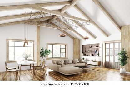 Modern interior of house, living room with sofa, 3d rendering
