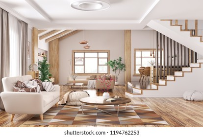 Modern interior of house, living room with sofa,kitchen staircase 3d rendering