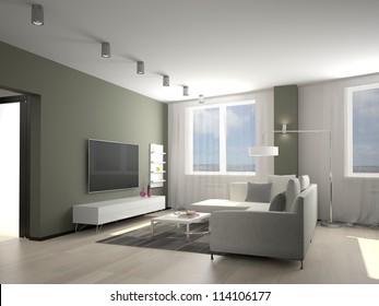 Modern interior of a living room  3D