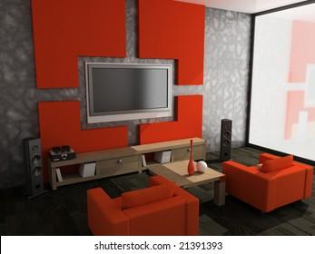 modern interior of living room modern 3D