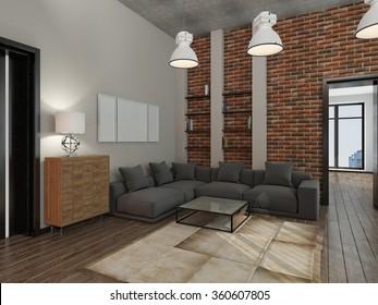 Modern interior of a living room  3D rendering