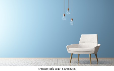Modern interior of living room with armchair and light bulbs 3d rendering
