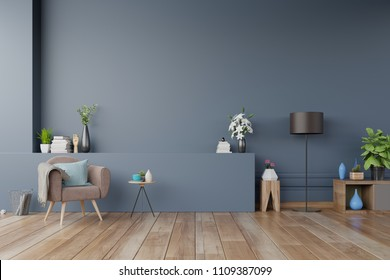 Modern interior of living room with armchairs,lamp,shelf,cabinet, plants and dark blue wall ,3d rendering