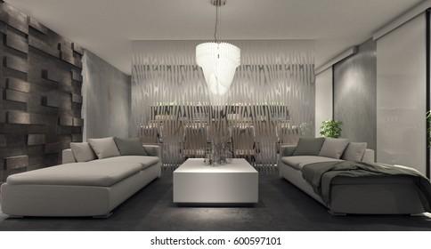 modern interior living room, beauty saloon, 3d rendering, 3d illustration