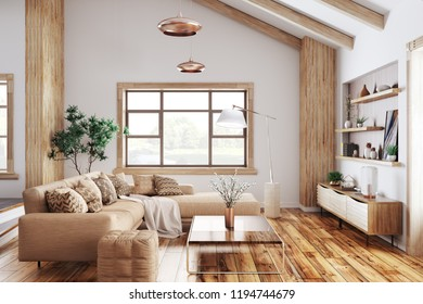 Modern interior of living room with beige sofa 3d rendering