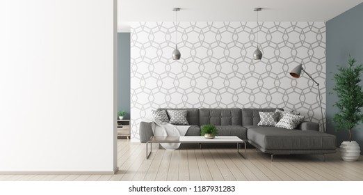 Modern interior of living room with black corner sofa and lamps over patterned wall and empty wall as copy space 3d rendering
