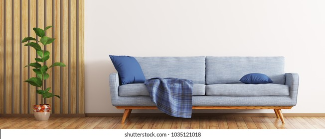 Modern interior of living room with blue sofa and plant over white wall with wooden paneling panorama 3d rendering