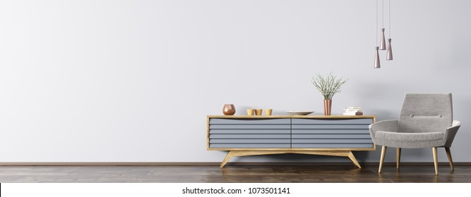 Modern interior of living room with blue wooden cabinet and gray armchair panorama 3d rendering