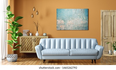 Modern interior of living room with blue leather sofa, wooden door and cabinet, against orange wall, home design 3d rendering