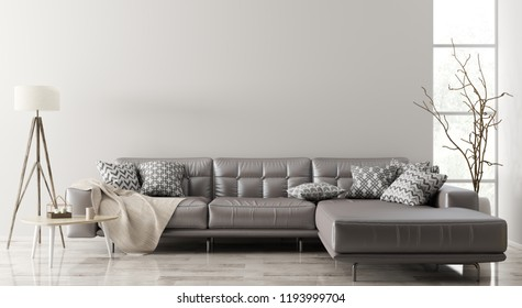 Modern interior of living room with brown leather corner sofa, coffee table,floor lamp 3d rendering