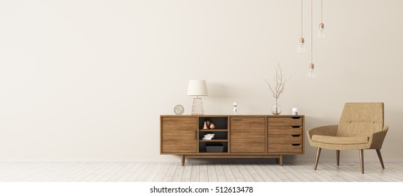 Modern interior of living room with brown wooden cabinet and armchair panorama 3d rendering
