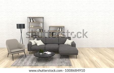 Modern interior living room dark grey stock illustration 1008684910