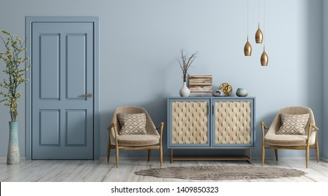 Modern interior of living room with door, armchairs and dresser 3d rendering