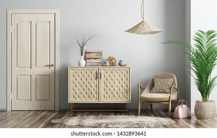 Modern interior of living room with door, armchair and dresser 3d rendering