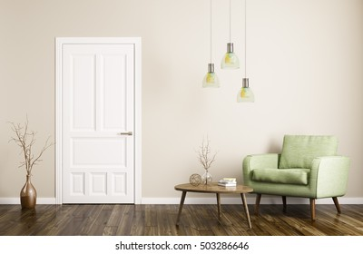 Modern interior of living room with door,armchair and coffee table 3d rendering