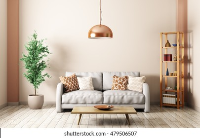 Modern interior of living room with gray sofa, lamp,shelf,coffee table 3d rendering