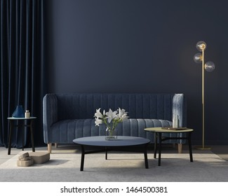 Modern interior of the living room in monochrome blue with  a stylish velvet sofa, a beige carpet, a golden floor lamp / 3D illustration, 3d render