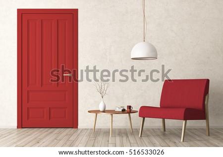 Modern interior living room red door stock illustration