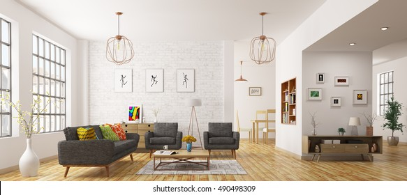 Modern interior of living room, scandinavian style 3d rendering