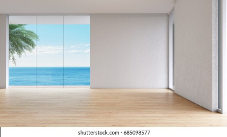 Modern interior Living room sea view summer 3d rendering. empty room wood floor with window