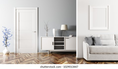 Modern interior of living room with sofa, cabinet and door 3d rendering