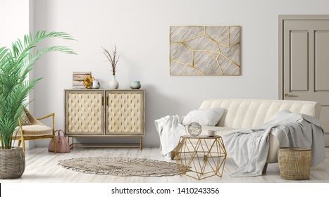 Modern interior of living room with sofa and cabinet, home design 3d rendering