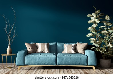 Modern interior of living room with turquoise sofa, home plant and vase with branch against blue wall 3d rendering