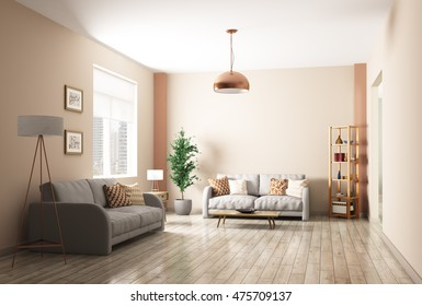 Modern interior of living room with two gray sofas 3d rendering