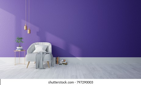 Modern interior of living room ,Ultraviolet home decor concept, gray armchair  on purple wall and white floor ,3d render