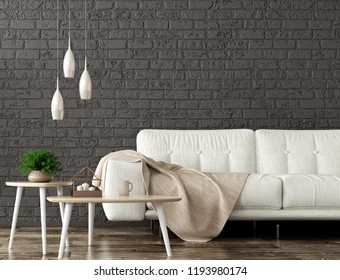 Modern interior of living room with white sofa, wooden coffee tables over black brick wall 3d rendering