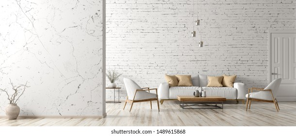 Modern interior of living room with white sofa, coffee table, armchairs, marble wall with copy space, panorama 3d rendering