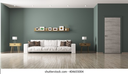 Modern interior of living room with white sofa, shelf, side tables ,door 3d rendering