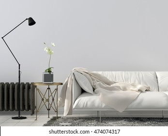 Modern interior of a living room with white sofa a floor lamp and a heating radiator against the wall
