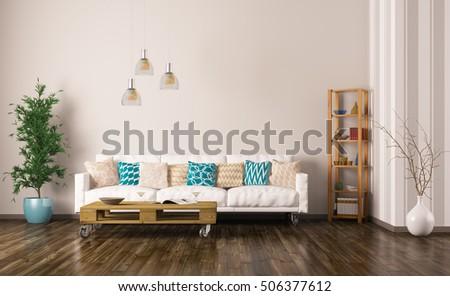 Modern Interieur Living : Modern interior living room white sofa stockillustration