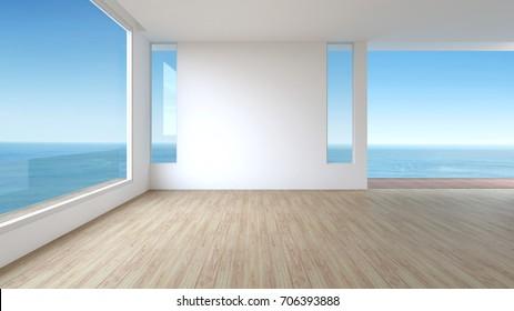Modern interior Living room wood floor panorama sea view summer 3d rendering. empty room with window
