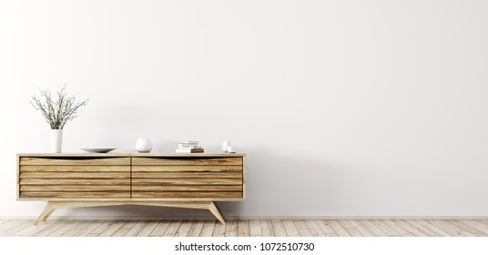 Modern interior of living room with wooden dresser over white wall panorama 3d rendering