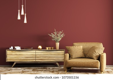 Modern interior of living room with wooden dresser and brown armchair over red wall 3d rendering